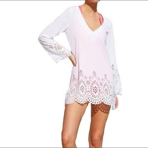 Kenneth Cole Reaction Laser-Cut Tunic Cover Up